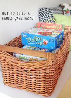 Getting Ready for Spring: Make a Family Game Basket – Steph :: Modern Parents Messy Kids Getting Ready for Spring: Make a Family Game Basket A great list for putting together a family game collection that will keep everyone laughing. Family Fun Night, Make A Family, Family Life, Family Room, Family Games, Family Activities, Indoor Activities, Indoor Games, Summer Activities