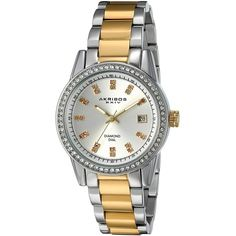 Akribos XXIV Women's AK928TTG Two-Tone Watch with Diamond Markers (£66) ❤ liked on Polyvore featuring jewelry, watches, two tone watches, stainless steel jewelry, 2 tone watches, silver tone watches and akribos xxiv