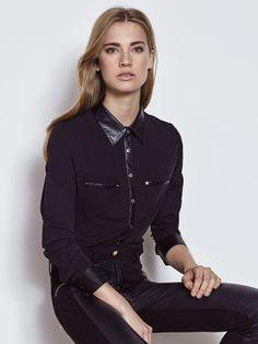 Camisa negra mujer coleccion javier simorra Pedralbes Centre #working