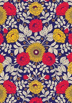 """Vibrant Red, Yellow, Blue & White Modern Floral Pattern"" by somecallmebeth Pattern Art, Pattern Design, Print Patterns, Motifs Textiles, Cool Wallpaper, Vintage Flowers, Surface Design, Cute Wallpapers, Flower Art"
