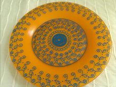Decorative Plate HandPainted Blue on Orange by TheMagicWithin, $25.00