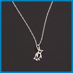 Sterling Silver Cutout Baby Penguin Pendant Necklace - Delicate Flat Oval Chain, 0.5 & 16-in - Wedding nacklaces (*Amazon Partner-Link)