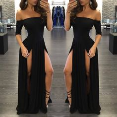 Sexy Black Prom Dress,Long Prom Dresses,Charming Prom Dresses,Evening