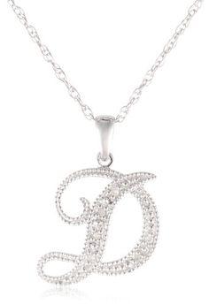 Vintage judith jack jj sterling silver letter c initial pendant sterling silver initial d diamond pendant necklace 002 cttw i j color i2 aloadofball Choice Image