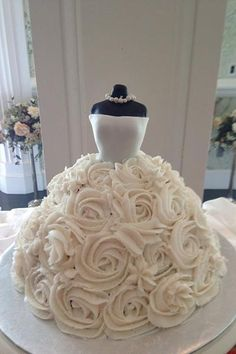 This bridal shower cake with its floral skirt is like a work of art.
