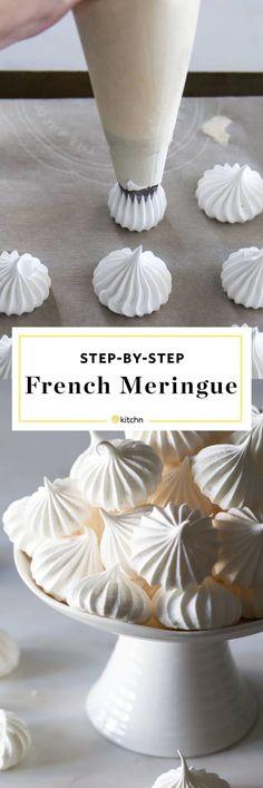 French Meringue Cookies Recipe, Baked Meringue, Vanilla Meringue Recipe, Meringue Recipe Without Cream Of Tartar, Perfect Meringue, Strawberry Meringue, French Cookies, Meringue Cookies, Sweets