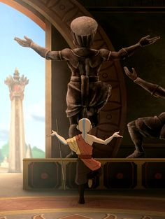 Aang preforming the The Dancing Dragon, (along with Zuko who is not seen in this picture), to unlock the Sun Warrior treasure, The Sun Stone.