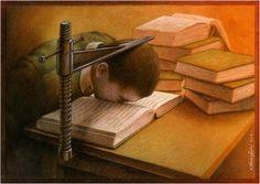 고정대가 학생의 머리를 책과 맞닿도록 강제로 누르고 있다. 점점 암기와 주입식 교육으로 변하는 세태를 비판하고 있다.