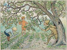 "ELSA BESKOW, ""Herr Gråpäron kliver ur sitt träd"" from ""Lasse-liten i trädgården"". - Bukowskis"