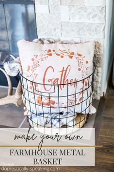 How to Make Your Own Farmhouse Metal Basket Matte Black Spray Paint, White Chalk Paint, Easy Diy Crafts, Decor Crafts, Wooden Tool Caddy, Christmas Tree In Basket, Harp Design Co, Christmas Calendar, Thrift Store Crafts