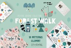 Ad: FOREST WALK creative graphic set by solmariart on Hello world! I am new graphic set - Forest walk with a lot of cute animal characters, woodland elements for creating amazing design for you Pattern Art, Pattern Design, Fox Squirrel, Squirrels, Trendy Collection, Graphic Patterns, Art Patterns, Graphic Design, Cute Characters