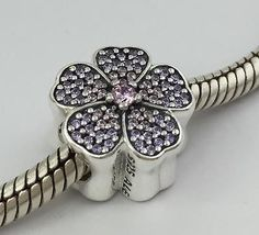 Authentic Pandora Sterling Silver Sparkling Primrose Bead Charm 791481PCZ New - http://elegant.designerjewelrygalleria.com/pandora/authentic-pandora-sterling-silver-sparkling-primrose-bead-charm-791481pcz-new/