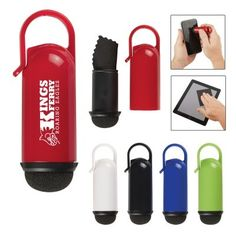 A functional promotional item, the Screen Cleaner and Cloth Combo cleans cell phones, tablets and computer screens. Simply remove the tip to remove the microfiber cloth or use the end to wipe the touchscreen clean. Comes with clip attachment and is available in Black, Lime Green, Red, Royal Blue or White. #promotional #products