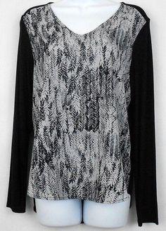 52630963cfb Croft Barrow Womens Top Black Gray Sz S Long Slv V Neck Mixed Media Stretch  New  CroftBarrow  Blouse  Casual
