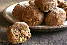 Recipe for sweet apple and date charoset truffles rolled in cinnamon sugar. A perfect treat for Passover and non-Passover events a-like. Passover Menu, Passover Recipes, Jewish Recipes, Date Recipes Desserts, Gluten Free Desserts, Party Desserts, Recipes Dinner, Flourless Desserts, Dried Dates