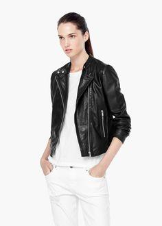 Leather biker jacket -  Women | MANGO