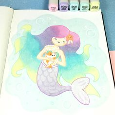"3,026 Likes, 26 Comments - ⭐️KiraKiraDoodles (@kirakiradoodles) on Instagram: ""A little mermaid and her catfish friend I wish I had mermaid hair • • #kawaii #mermaid…"""