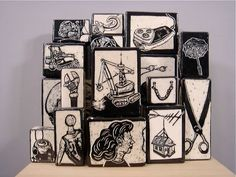"""Todd Barricklow Carves Bold Block-Style Drawings into Clay. For Todd Barricklow, his art is about evolution—humans as machines. Simple man-made objects, tools and human anatomy fascinate him. """"Tools make us a better machine,"""" he says, """"or lack of tools may make us a more frustrated machine."""""""