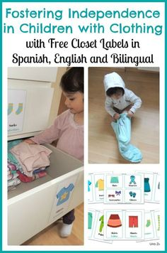 Free Clothing Labels in English, Spanish and Bilingual. Great way to help kids start putting away on clothes.