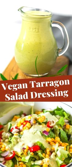 This creamy Vegan Tarragon Salad Dressing is easy to prepare and comes together in 5 minutes. Take your salad to the next level with this gourmet salad dressing, enjoy the combination of aromatic tarragon,  tart lemon, fragrant and creamy cashews!