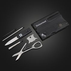 Switzerland Multifunctional Tool Business Card with LED Light via Goods from Michal. Click on the image to see more!