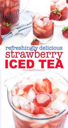 Strawberry Iced Tea is made with sweet, fresh, strawberry simple syrup for a refreshing summer drink! | FiveHeartHome.com #icedtea