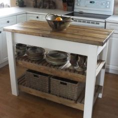Furniture Kitchen ~ Multipurpose Custom Butcher Block Island Design Ideas: Amazing Rustic White Wooden Butcher Block Island With Simple Idea...