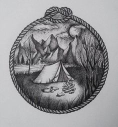 7681d5fc1b03f Image result for camping tattoo Traditional Camping Tattoo, Traditional  Tattoo, Camp Fire Tattoo,