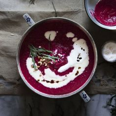 Healthy & delicious beetroot soup with roasted tomatoes, hazelnuts, wild arugula, goat cheese foam & toasted pumpkin oil.
