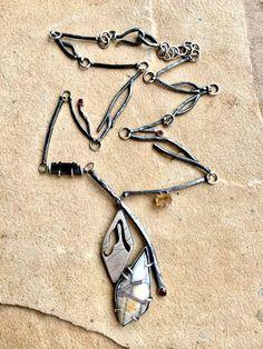 SilverStruck/Julianne Van Buskirk Winter Branches Necklace Sterling silver, agatized sequoia, Tourmaline, topaz, fire opal