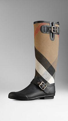 Check Detail Rain Boots | Burberry