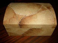 caja de falso cuero caja madera madera