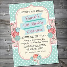 Shabby Chic Birthday Invitation Custom Printable | Easy Invitations | madeit.com.au