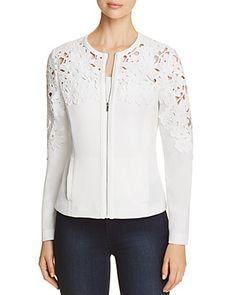 Bagatelle Womens Ivory Crochet Fashion Bomber Jacket Outerwear S BHFO 6686 for sale online Mode Hijab, Crochet Fashion, Crochet Clothes, Blouse Designs, Mantel, Outerwear Jackets, Designer Dresses, Fashion Brands, Jackets For Women