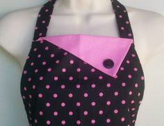 Retro Black and Pink Polka Dot Apron / 1950s vintage style