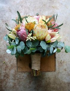 Native November Wedding in Soft Blush Colours - Protea Dryandra Berzelia Pincushion Gum Leucadendron flowers native Protea Bouquet, Diy Bouquet, Protea Wedding, Floral Wedding, Bride Bouquets, Floral Bouquets, Australian Native Flowers, Boho Wedding, Floral Arrangements