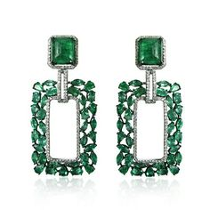Emerald and Diamond Earrings, set in 18kt Gold.