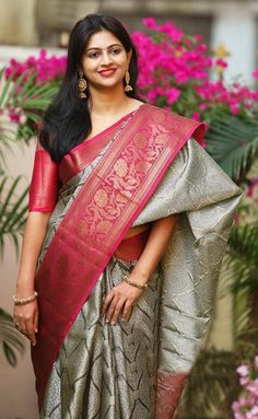 Pure mysore silk saree with allover kanchi zari / pink border saree / designer saree/ saree for women / indian saree / saree blouse / saree Mysore Silk Saree, Silk Saree Kanchipuram, Indian Silk Sarees, Soft Silk Sarees, Indian Beauty Saree, Banaras Sarees, Drape Sarees, Seda Sari, Latest Silk Sarees