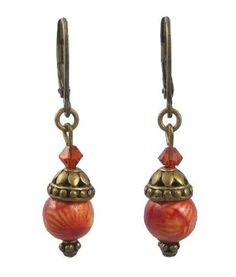 Amazon.com: Earrings - E376 - Hand Painted Wood Bead and Swarovski (tm) Crystal Beads - Antique Gold Tone: Jewelry