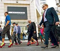 From Toronto's Walk A Mile in Her Shoes parade to end violence against women.