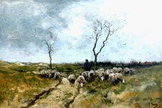 Anthonij 'Anton' Mauve (Zaandam 1838-1888 Arnhem) Schaapherder met zijn kudde op de Larense hei - Kunsthandel Simonis en Buunk, Ede (Nederland).