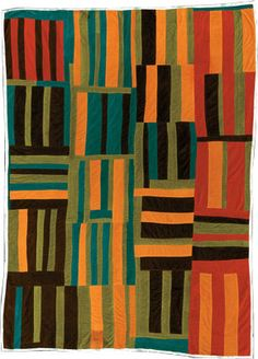 """Roman Stripes variation quilt, by Willie """"Ma Willie"""" Abrams, ca. 1975. Corduroy. Courtesy of The Collection of the Tinwood Alliance; photography by Museum of Fine Arts, Houston.  Seen at Quilt Inspiration"""