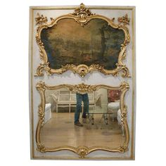 18th C Louis XV Trumeau w painting   From a unique collection of antique and modern trumeau mirrors at http://www.1stdibs.com/furniture/mirrors/trumeau-mirrors/