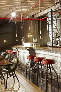 MA - color concept: brown, white, black, burgandy  Truth Coffee de Haldane Martin #metal  red accents