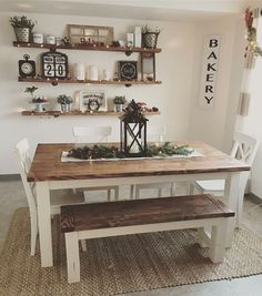 Popular Farmhouse Wall Decor Design Ideas for Dining Room ✓ - Farmhouse furnishings is a wonderful means to carry a welcoming contact to your residence. room wall decor ideas Popular Farmhouse Wall Decor Design Ideas for Dining Room ✓ Farmhouse Dining Room Table, Dining Room Wall Decor, Farmhouse Wall Decor, Decor Room, Dining Room Design, Home Decor, Modern Farmhouse, Farmhouse Ideas, Shelves In Dining Room