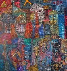 "I Wayan Gede Budayana ""Political drama"" (Drama politik) Acrylic on canvas 135 x 145 cm 2017"