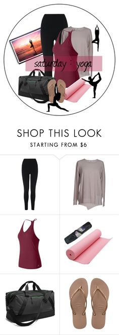 """Saturday Morning Yoga"" by sonyastyle ❤ liked on Polyvore featuring L.K.Bennett, New Balance, The North Face and Havaianas"