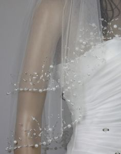 Fashion two layer lower elbow length veil white and ivory wedding dress bridal veil handmade beaded pearl bead edge veils with beads tube on Etsy, $36.00
