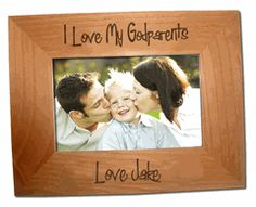 godparents Frame for Our home. Engraved Picture Frames, Wooden Picture Frames, Godparent Gifts, Godchild, Baby Lane, Picture Engraving, Iron On Letters, Christian Pictures, Baby Dedication