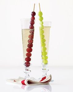 new year's eve champagne with grapes